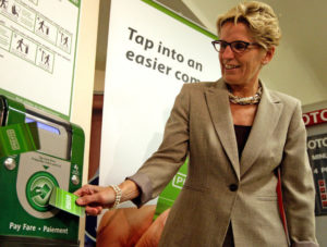 This can't be good: Ontario Premier Kathleen Wynne promotes Presto.
