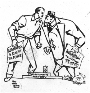 Cartoon from the UE News, August 26 1955