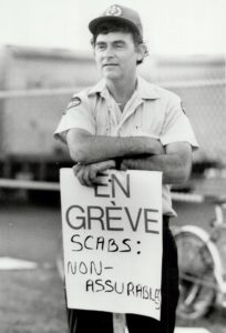 A Montreal letter carrier on strike. June 1987. Photo: Tony Bock, Toronto Star