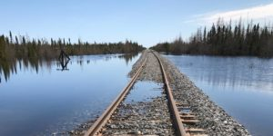 Flooded rail line. Photo from APTN.